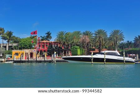 Luxury house on Hibiscus Island in downtown Miami, Florida. - stock photo