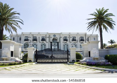 luxury house with palms
