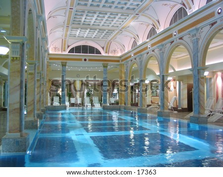 Luxury indor swimming pool in Hotel Bad Ragaz in Switzerland
