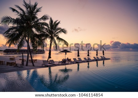 Luxury infinity pool and palm trees on Maldives beach -  tropical nature vacation background  #1046114854