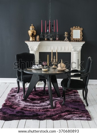 luxury interior decor black wall and fireplace black chair gold frame classic dining room style