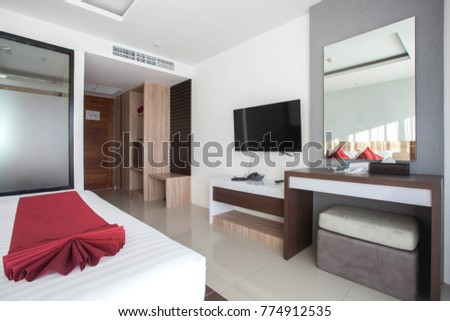 Luxury Interior design in bedroom of pool villa #774912535