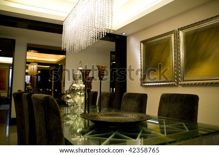 Luxury interior dining room waiting for dinner