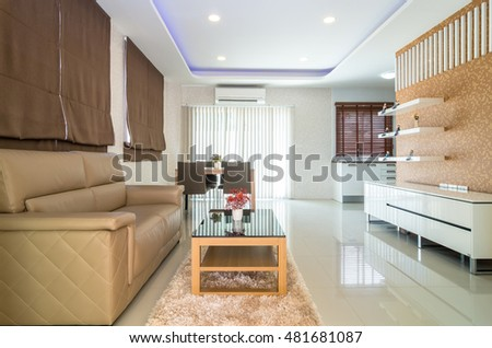 Luxury Interior living room and kitchen #481681087