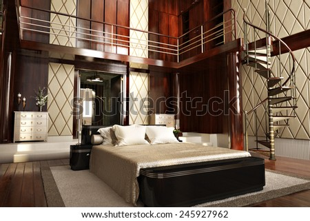 Luxury interior of an elegant bedroom with wood accents. Photo realistic 3d illustration.