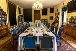 Luxury interior of dining room, Europe museum