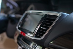 luxury interior vehicle inside modern car, selective focus on air condition cooling fresh
