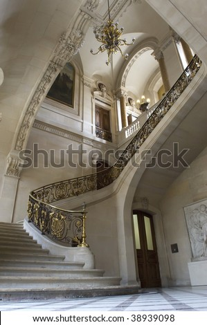 Luxury interior with large staircase