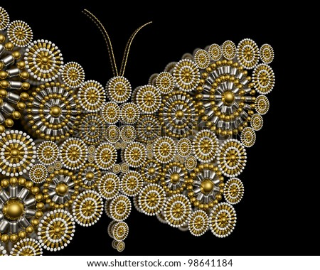 Luxury jewelry butterfly ornament background design made from metallic seed beads isolated on black background. Luxury background.