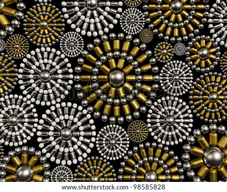 Luxury jewelry ornament background design made from metallic seed beads. Luxury jewelry background