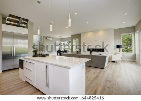 Luxury kitchen accented with large kitchen island topped with white quartz, natural backsplash, natural brown wood cabinets, with lots of natural light. Northwest, USA