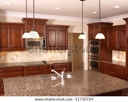 Luxury Kitchen With Granite Counter Top Center Island Stock Photo