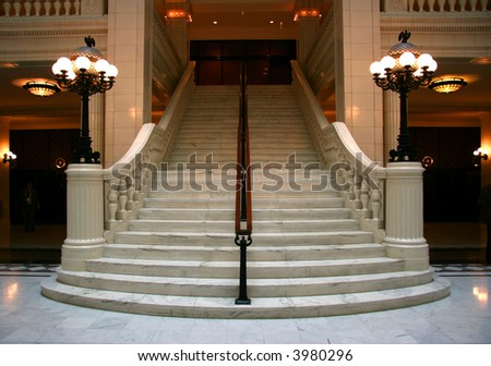 Luxury large white marble staircase, frontal view