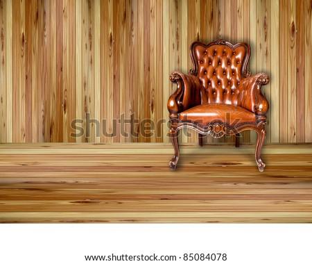 luxury leather armchair on wood