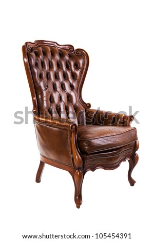 Luxury leather chair isolated on white background