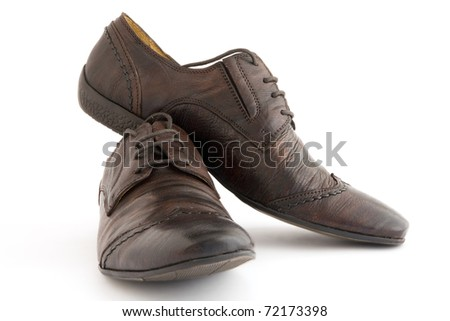 luxury leather man's shoes on a white background