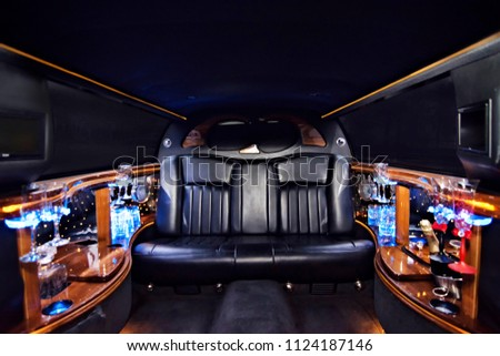 luxury limousine interior party champagne colorful leather beautiful ceremony #1124187146