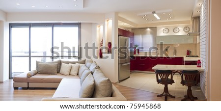 Luxury living room and modern kitchen #75945868
