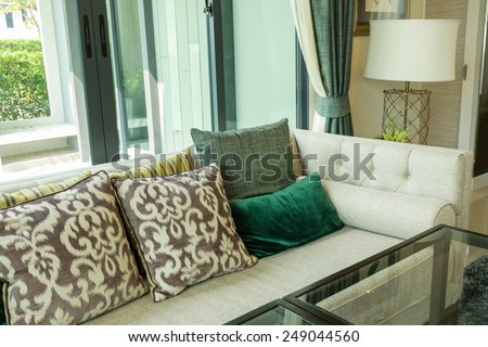 luxury living room design with sofa and lamp
