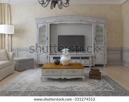 Luxury living room provence style. Spacious room with plaster walls, molding, and wall system. Old carpet and exclusive low table. 3D render