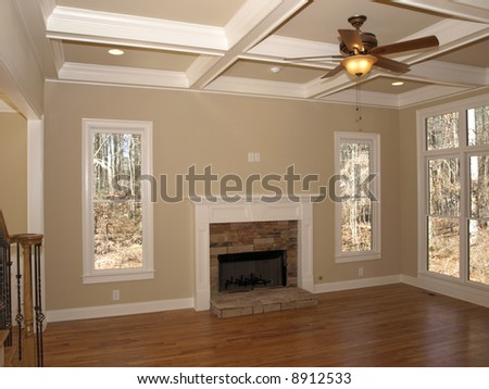 Luxury Living Room With Ceiling Fan Empty Stock Photo 8912533