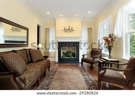 Luxury living room with fireplace - stock photo