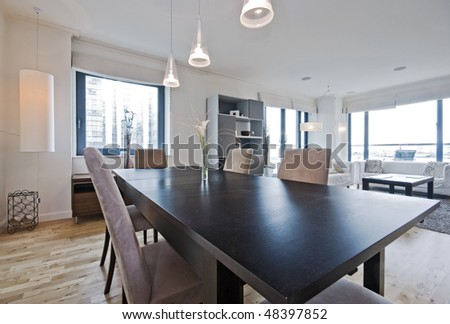 luxury living room with massive dining table