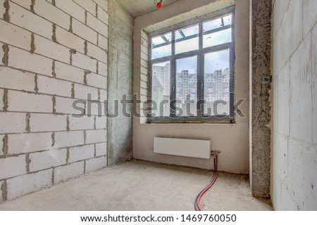 Luxury lobby interior. modern hotel interior, corridor and panoramic windows. apartment in new building with free layout without repair and decoration, bare walls, large French window. #1469760050