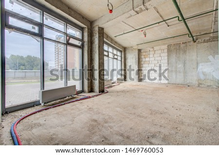 Luxury lobby interior. modern hotel interior, corridor and panoramic windows. apartment in new building with free layout without repair and decoration, bare walls, large French window. #1469760053