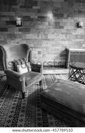 Luxury lobby interior.With crystal lamp,bing hall, marble floor, french sash,mosaic tile,comfortable sofa, etc. #457789510