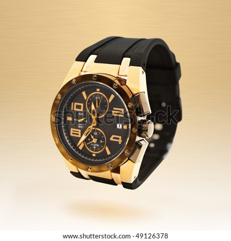 luxury man watch against beige background