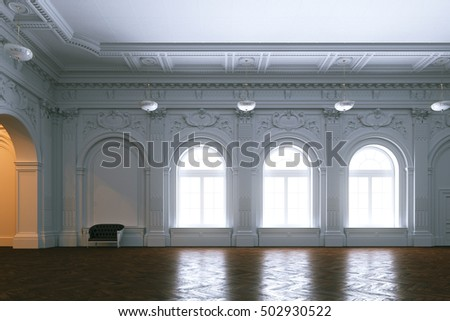 Luxury mansion  interior. Large hall with columnes Classic leather sofa 3d render
