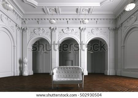 Luxury mansion villa interior with columns. White leather sofa. 3d render