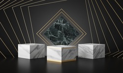 luxury marble geometric podium in dark black background. 3d rendering - illustration.