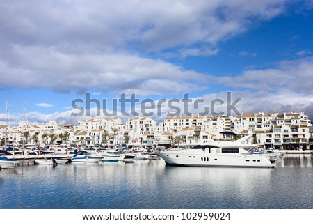 Luxury marina in Puerto Banus on Costa del Sol, near Marbella in southern Spain, Andalusia region, Malaga province.