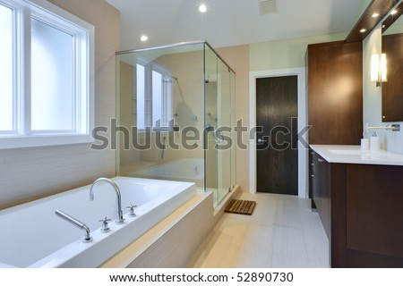 Luxury Master Bath with glass shower and large bath tub - stock photo
