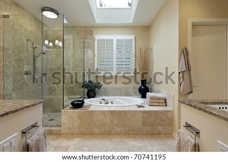 Luxury Master Bath With Skylight Over Bath Tub Stock Photo ...