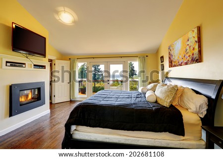 Luxury master bedroom with modern furniture, tv and fireplace. Room has walkout deck