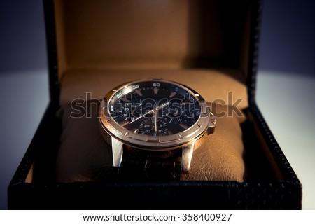 luxury men\'s watch in a gift box