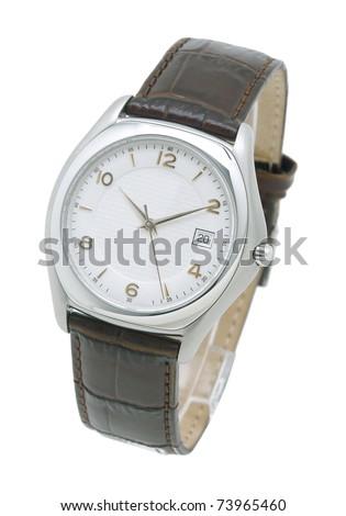 Luxury men wristwatch isolated on white background