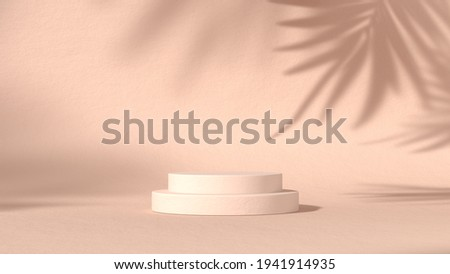 luxury minimal block, circle, cylinder podium shadow leaves in pastel natural background. concept scene stage showcase, product, perfume, promotion sale, banner, presentation, cosmetic. 3D render