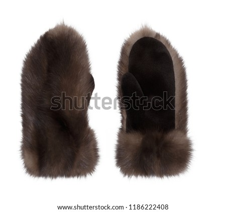 Luxury mittens made from natural sable fur, , isolated on white background #1186222408