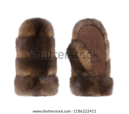 Luxury mittens made from natural sable fur, , isolated on white background #1186222411