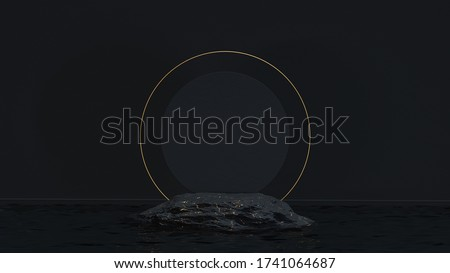 Luxury mockup podium stone with golden marble texture and golden circle in water for branding and packaging presentation. Black and gold natural pedestal. Fashion concept. 3d render. 3d illustration.