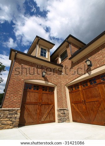 Luxury Model Home Exterior with angled double garage