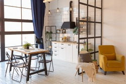 luxury modern design of a cozy small Scandinavian-style studio apartment with white walls, second floor with a library and huge high window