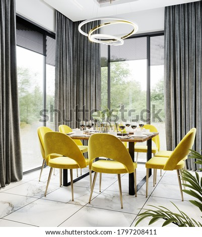 Luxury modern dinning room interior background for mockup with bright yellow chairs, table with dishes, panoramic windows and gold chandelier, dinning room interior mockup, 3d rendering  Stock photo ©