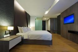 luxury modern hotel room, Bangkok, Thailand.