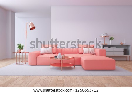Luxury modern interior of living room ,Living coral decor concept ,3d render