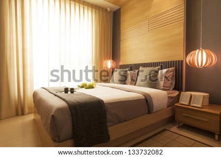Luxury modern japanese style bedroom stock photo for Mobilia bedroom